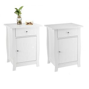 Bonnlo Set of 2 Nightstand End Side Table with Storage Drawer and Cabinet for Bedroom, Living Room, Kid's Room, White