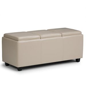 Simpli Home Avalon 42 inch Wide Rectangle Storage Ottoman with 3 serving trays in Upholstered Satin Upholstered Cream Faux Leather, Coffee Table for the Living Room, Bedroom, Contemporary