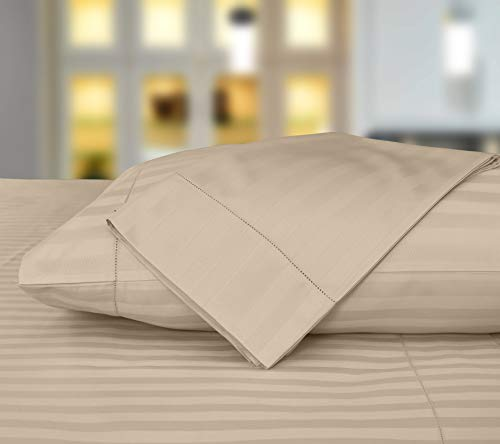 Threadmill Home Linen 500 Thread Count Damask Stripe 100% ELS Cotton Sheets, Set of 2 Standard Pillowcases, Luxury Bedding, Smooth Stripe Sateen, Beige