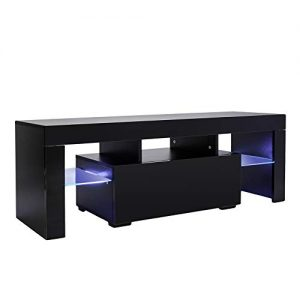 Mecor Modern Black TV Stand with LED Light, High Gloss TV Stand for 50/55 Inch TV LED TV Stand with Drawer Console Table for Living Room (Black)