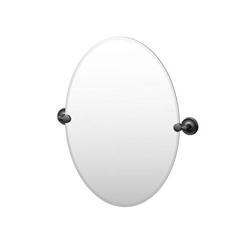 Gatco Desinger II Frameless Oval Pivot Mirror, 26.5 Inch, Matte Black