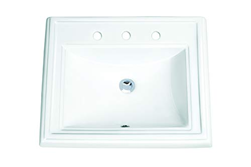 MSCBDP-2318-3W 23-in x 18-1/4-in White Rectangular Ceramic Drop-In Top Mount Bathroom Sink