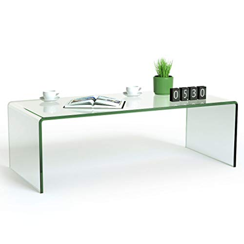"Tangkula Glass Coffee Table, 42.5"" L × 20"" W ×14"" H, Modern Home Furniture, Clear Tempered Glass End Table, International Occasion Tea Table, Waterfall Table with Rounded Edges (Clear)"