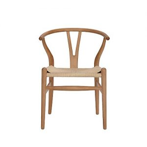 Tomile Wishbone Chair Y Chair Solid Wood Dining Chairs Rattan Armchair Natural (Beech-Natural Wood Color)