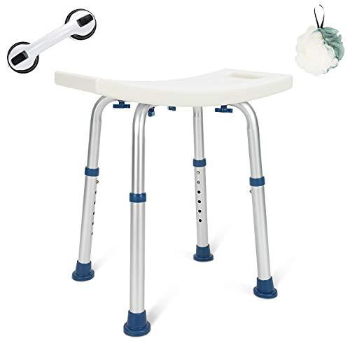 GreenChief Shower Chair 300lb, Adjustable Bath Seat with Free Bathroom Grab Bar - Medical Tool Free Heavy Duty Shower Bench Bathtub Stool Seat for Elderly, Senior, Handicap & Disabled