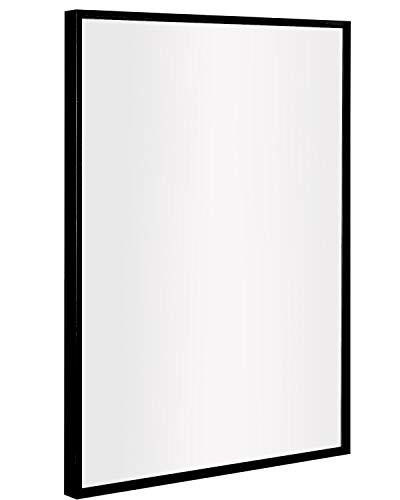 ANDY STAR Bathroom Mirror, Clean Large Modern Black Frame Wall Mirror | 30x40-Inch Contemporary Premium Silver Backed Floating Glass Panel | Mirrored Rectangle Hangs Horizontal or Vertical