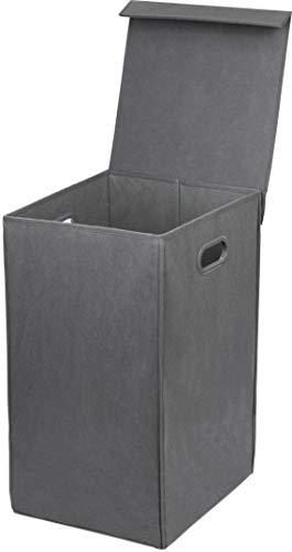 Simple Houseware Foldable Laundry Hamper Basket with Lid, Dark Grey