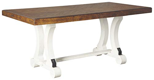 Signature Design By Ashley - Valebeck Rectangular Dining Room - Casual Style - White/Brown