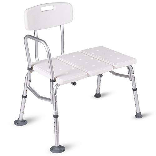WATERJOY Bath Bench, 5 Height Adjustable Medical Bath Seat Stool Shower Chair with Back and Armrest, Bathroom Bath Tub Transfer Bench