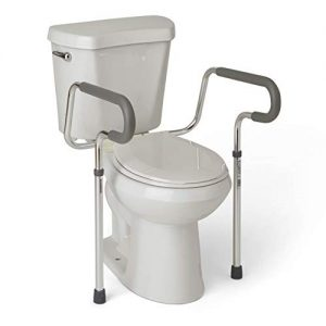 Medline's Guardian Toilet Safety Rail with Adjustable Height for Bathroom Safety, Toilet Assist, and Grab Bar