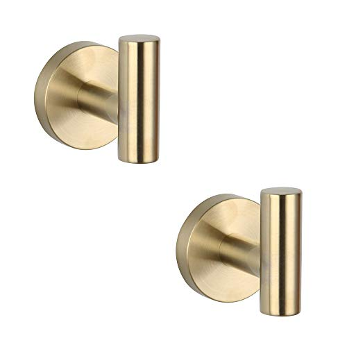 GERZ Bathroom Brushed Gold Coat Hook SUS 304 Stainless Steel Single Towel/Robe Clothes Hook for Bath Kitchen Contemporary Hotel Style Wall Mounted 2 Pack,