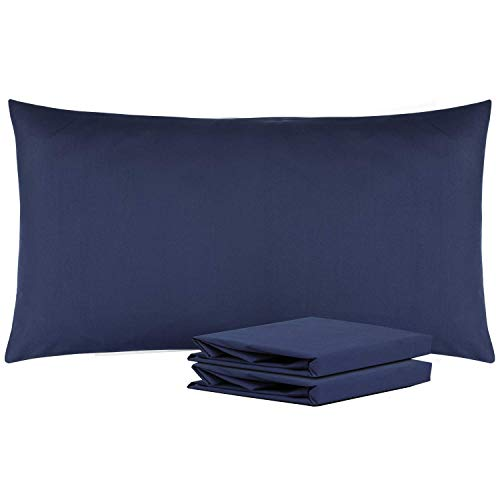 """NTBAY King Pillowcases Set of 2, 100% Brushed Microfiber, Soft and Cozy, Wrinkle, Fade, Stain Resistant with Envelope Closure, 20""""x 36"""", Navy"""