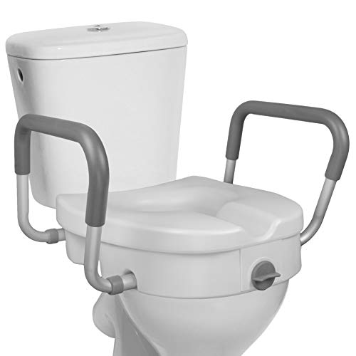 RMS Raised Toilet Seat - 5 Inch Elevated Riser with Adjustable Padded Arms - Toilet Safety Seat for Elongated or Standard Commode