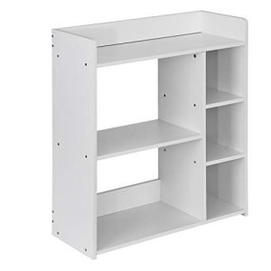 Book shelf 5-layer Multi-Function Storage Shelf Bookcase Large-Capacity Storage Bookshelf Placed Book Record Suitable for Study Living Room Office-Home Furniture Storage Shelves (White)
