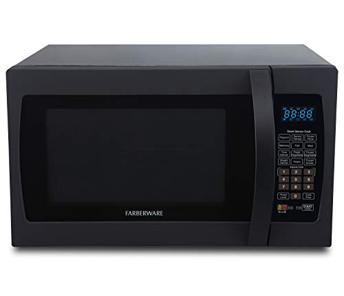Farberware Professional FMO13AHTBKF 1.3 Cu. Ft. 1100-Watt Microwave Oven with Smart Sensor Cooking, ECO Mode and Blue LED Lighting, Matte Black