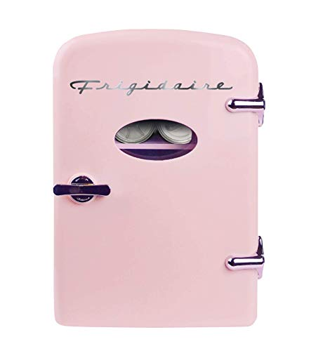 Frigidaire Mini Portable Compact Personal Fridge Cools & Heats, 4 Liter Capacity Chills Six 12 oz Cans, 100% Freon-Free & Eco Friendly, Includes Plugs for Home Outlet & 12V Car Charger - Pink