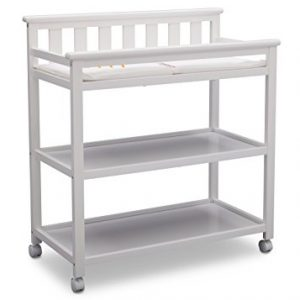 Delta Children Flat Top Changing Table with Wheels and Changing Pad, Bianca White