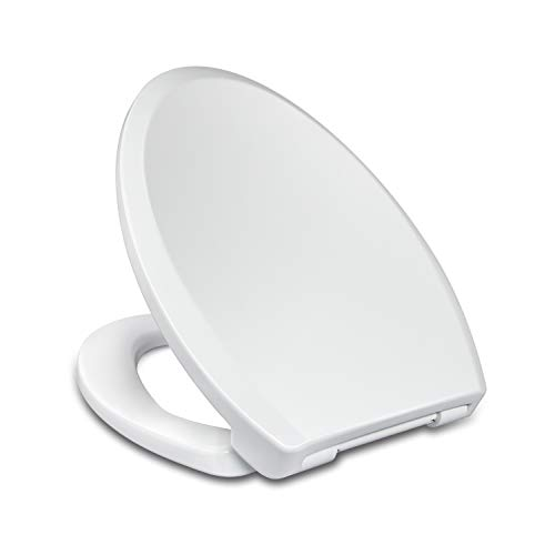 Elongated Toilet Seats with Slow Close lid, Easy Clean & Change Hinges Seat, Suitable Elongated or Oblong Toilets, No Slam Toilet Seat, White