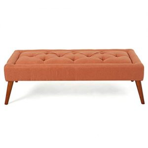 Christopher Knight Home Dilwyn Fabric Tuft Top Ottoman, Orange
