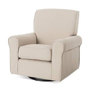 Forever Eclectic by Child Craft Serene Upholstered Swivel Glider Rocker, Flecked Gray (Flecked Tan)