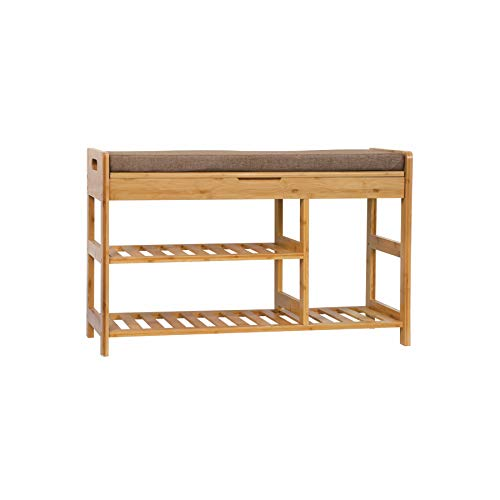 """C&AHOME Shoe Rack Bench, Entryway 3-Tier Shoe Organizer, Max Load 270 LBS, Bamboo Storage Shelf with Cushion for Boots, Modern Stool for Bedroom Living Room, 31.5"""" L x 11.6"""" W x 19.3"""" H Natural"""
