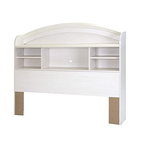 South Shore Reevo Bed & Headboard Set, Twin 39-inch, White Wash, Full,