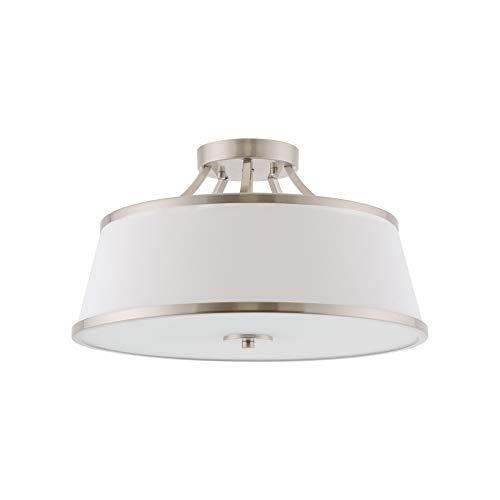 "Kira Home Zoey 17.5"" Modern 3-Light Semi-Flush Mount Ceiling Light Fixture + White Fabric Shade, Brushed Nickel Finish"