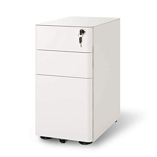 DEVAISE 3-Drawer Slim Locking File Cabinet, Fully Assembled Except Casters, Legal/Letter Size, White