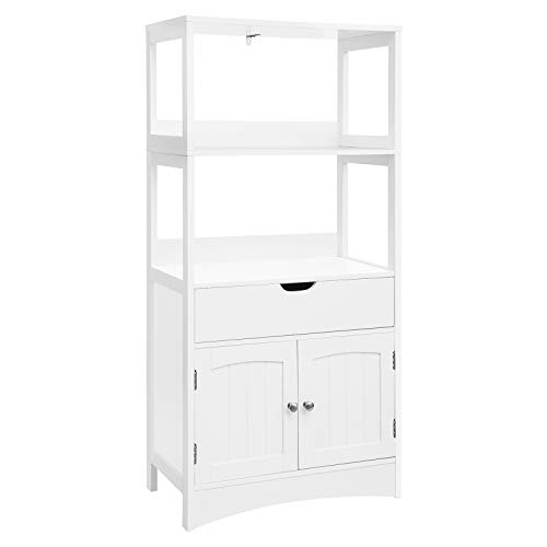 VASAGLE Bathroom Storage Cabinet with Drawer, 2 Open Shelves and Door Cupboard, Large Floor Cabinet in The Entryway Kitchen, White UBBC64WT