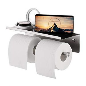 YUMORE Toilet Paper Holder, SUS 304 Stainless Steel Modern Double Roll Tissue Holder with Phone Shelf, Rustproof and Bathroom Washroom Tissue Roll Holder with Stuff Shelf, Brushed Finish