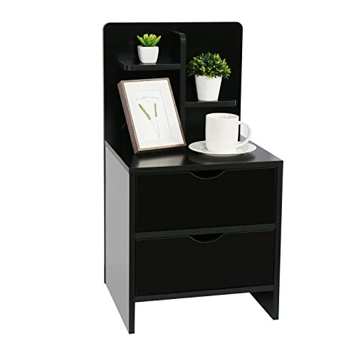 Nightstands Wooden Sofa Beside Table with Storage Shelf and 2 Drawers, Cabinet End Table Side Table for Bedroom Livingroom - Black