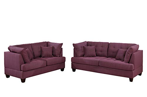 Bobkona 2-Pcs Sofa and Loveseat Purple