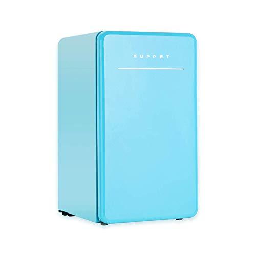 KUPPET Retro Mini Fridge Compact Refrigerator with Covered Chiller Compartment for Dorm, Garage, Camper, Basement or Office, Adjustable Removable Glass Shelves, 3.2 Cu.Ft, Blue