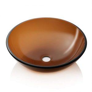Miligore Modern Glass Vessel Sink - Above Counter Bathroom Vanity Basin Bowl - Brown