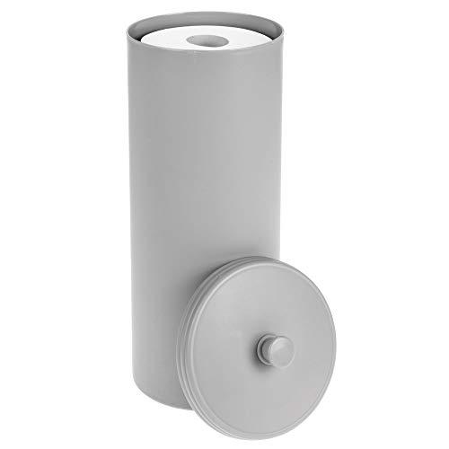 mDesign Plastic Free Standing Toilet Paper Holder Canister - Storage for 3 Extra Rolls of Toilet Tissue - for Bathroom/Powder Room - Holds Mega Rolls - Gray