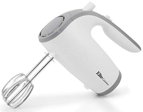 Elite Cuisine EHM-003X Ultra Power Electric 5-Speed Kitchen Hand Mixer with with 2 Extra Wide Stainless Steel Smooth Creamy Whipped Mixtures Plus Convenient, Beater Storage, White