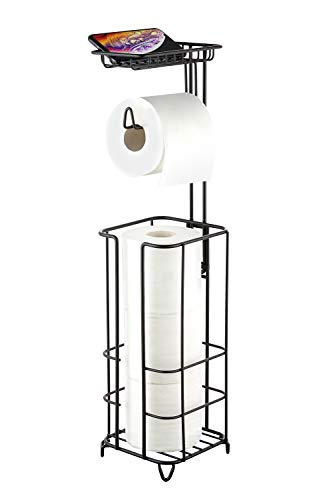 ZCCZ Toilet Paper Holder Stand with Reserve, Free Standing Toilet Roll Stand Toilet Paper Tissue Stand Include Cell Phone Shelf, Portable Toilet Paper Dispenser for Bathroom Storage, Matte Black