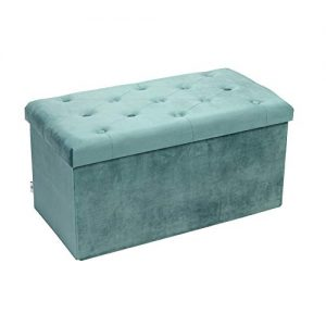 "B FSOBEIIALEO Folding Storage Ottoman, Long Shoes Bench, Flannelette Footrest Stool Seat 31.5""x15.7""x15.7"" (Teal, Large)"