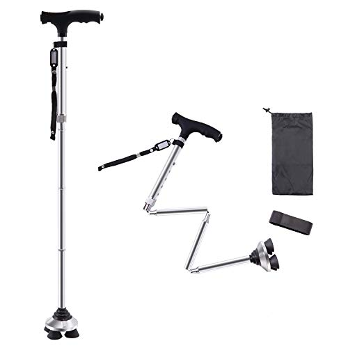 BigAlex Folding Walking Cane with LED Light,Pivoting Quad Base,Adjustable Walking Stick with Carrying Bag for Man/Woman (MG Alloy Base(Silver))
