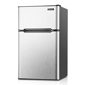 Euhomy Mini Fridge with Freezer, 3.2 Cu Ft 2 Door Upright Compact Refrigerator with Freezer Ideal Food and Drink Beer Storage Mini Refrigerator for Room, Kitchen, Dorm, Apartment and Office.