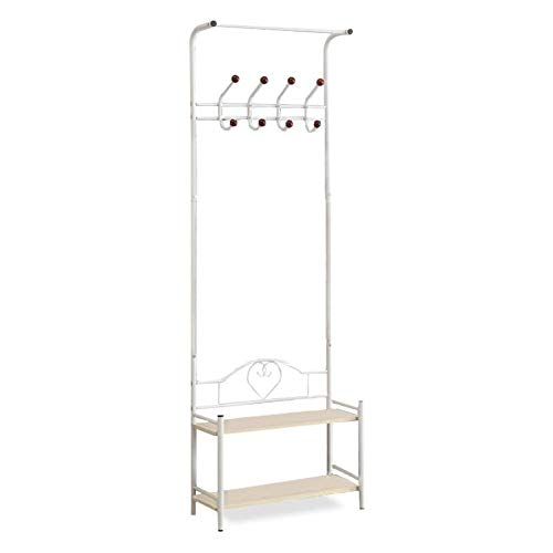 Yaker's collection Coat Rack, Easy Assembly Hall Tree White with 8 Hooks 2-Tier Shoe Shelf, Standing Coat Racks with 4 Adjustable Feet, Entry Hall Tree with Stable Carbon Steel for Coat, Shoe(White)