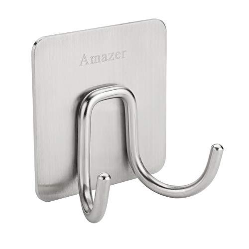 Amazer Towel Hook, Adhesive Double Bath Towel Hook Robe Hook Coat Hooks Heavy Duty Bathroom Hooks, 304 Stainless Steel Wall Hook Sticky Hanging Hooks for Bathroom