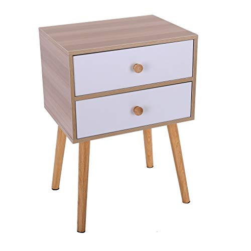 Small Nightstand,Jchen 【Ship from USA】 North American Modern Minimalist Bedside Cabinet Storage End Side Table Nightstand with Storage Drawer Solid Wood Legs Living Room Bedroom Furniture (Yellow)