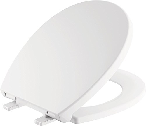 Delta Faucet Morgan Round Front Slow-Close White Toilet Seat with Non-Slip Seat Bumpers, White 801903-WH