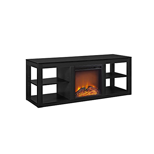 """Ameriwood Home Parsons TV Stand with Fireplace, 65"""", Black"""