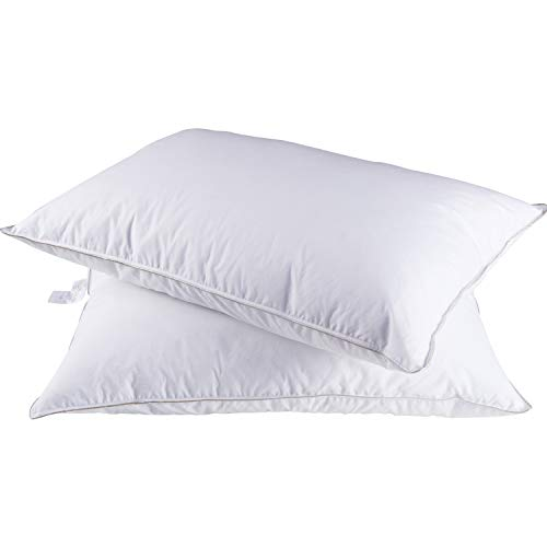 SHEONE 2 Pack Natural Goose Down Feather Pillows for Sleeping 100% Cotton Cover Downproof Bed Pillow, Luxury White Down Pillows Hypoallergenic (King Size)