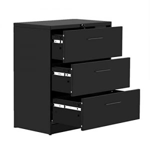 3 Drawers Lateral File Cabinets Metal Filing Storage Cabinet with Lock for Home Office,Anti-tilt Structure,Black