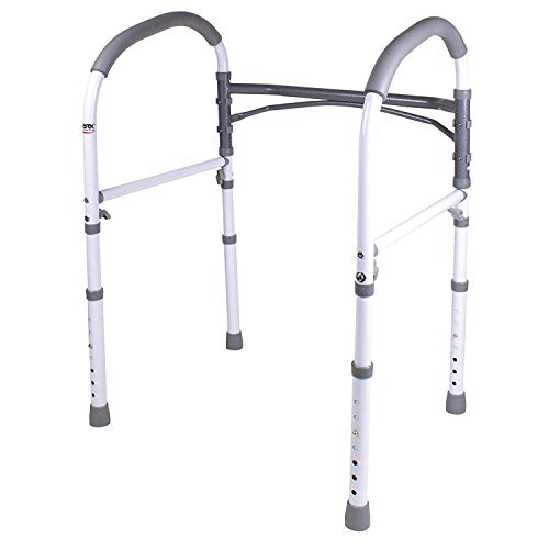 Carex Toilet Safety Rails - Toilet Handles for Elderly and Handicap - Home Health Care Equipment Toilet Safety Frame