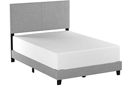 Crown Mark Erin Upholstered Panel Bed in Gray, Twin