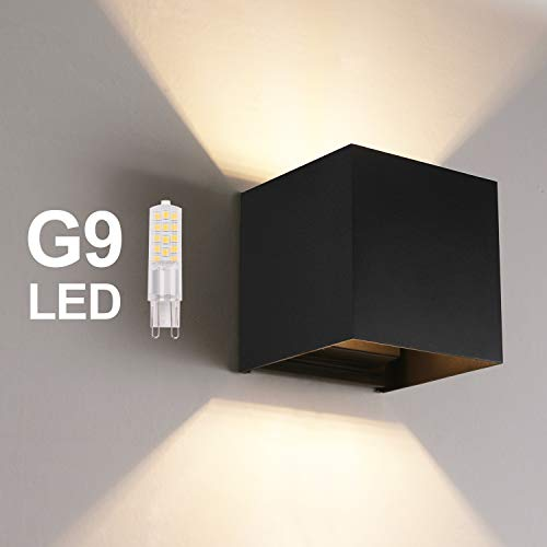 OOWOLF LED Outdoor Wall Lamp Indoor, Waterproof IP65 Aluminum LED Wall Lighting Replaceable G9 LED Bulb for Living Room, Bathroom, Hallway, Balcony, Stairs, Path, Patio 3000K Warm White